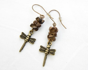 Dragonfly Dangle Earrings - Natural Wood Beads - Vintaj Brass Findings - Wood Nymph Earrings - Unique Woodland Earrings - Gift Idea