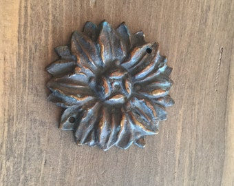 Vintage Solid Cast Brass Flower Medallion - Embellishment - Burnt Caramel Rich Heavy Brass Appliqué - Some Verdigris