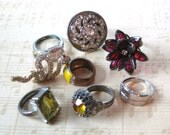 8 Lovely Rings From The Past -Vintage Ring Collection - Cocktail Costume Jewelry Rings
