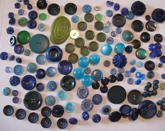 Shades of GREEN and BLUE Vintage Buttons 150 Collection  Sew Through and Shank Buttons for Sewing and Crafting