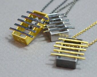 Rectangular silver 925, pendants, black platinum plated, gold platinum plated, modern pendant, handmade, elegant necklaces