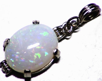 Ethiopian Opal Necklace Gold(3.86 ct)! White Opal Pendant in 14k White Gold, Opal Welo Oval Cabochon