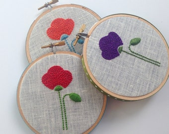 "Poppy hand embroidered hoop art, red, purple or orange, 4"" hoop, flowers, nature lover's gift, housewarming gift, hand embroidery by mlmxoxo"