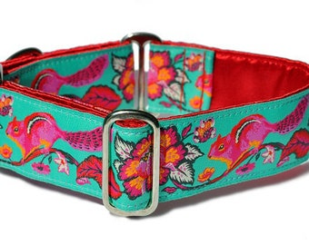 Martingale Dog Collar or Buckle Dog Collar - Cheery Chipmunk Jacquard in Turquoise - 1.5 Inch