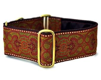 Martingale Collar or Buckle Dog Collar - Marseilles Jacquard in Burgundy & Olive - 2 Inch, Greyhound Collar, GreatDane Collar, Custom Collar