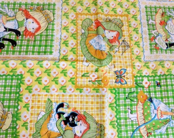 Cotton Fabric Girls Big Bold Print Flowers and and Checks Cute Greens and Yellows Summertime Fabric Yardage Quilting Sewing
