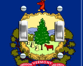 VERMONT State FLAG Single/Double Switch Plate ***FREE Shipping***