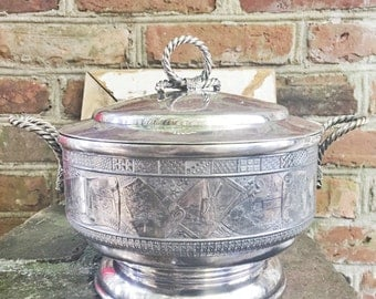 Antique 1884 Silver Plated Soup Tureen with Figural Rope Handles - Presented From Grand Island Friends