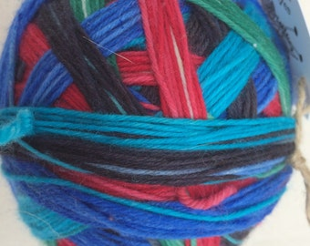 Aqua, Blue, Green, Black and Red Self Striping Sock Yarn Superwash Merino Sport Weight