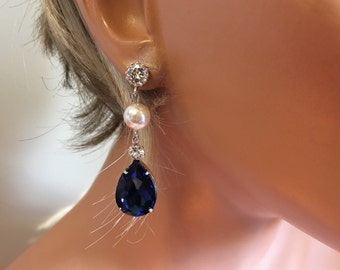Navy Blue Earrings with White Swarovski Pearl and Rhinestone post choice of color wedding jewelry bridal earrings mother of the bride gifts