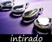 Terrarium Necklace, Intirado, Pendant Trays, Antiqued, Engraved, Tear Drop, Blank, Shadow Box, Empty Container, Lockets, Display Cases, 4pcs