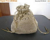 SUMMER SALE Spinning Golden Threads Vintage 1940s crocheted bucket bag drawstring purse tortoiseshell plastic bottom