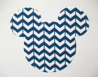DIY - No Sew Mickey Mouse Navy/White Chevron Fabric Applique - Iron On