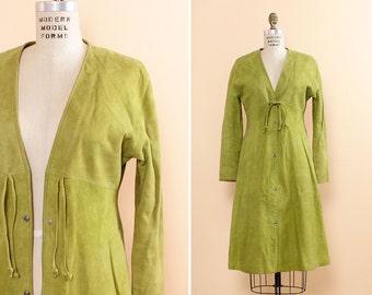 60s Bonnie Cashin Coat S/M • Green Suede Dress with Pockets • Avocado Green Suede Dress • Duster Jacket 60s Mod Dress • Suede Jacket | D765