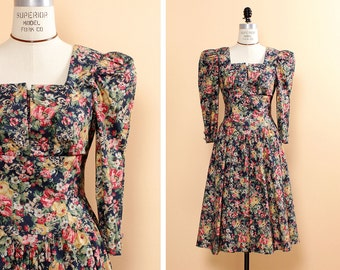 Dark Floral Dress S/M • Puff Sleeve Dress • Square Neck Dress • Rose Print Dress • Summer Cotton Dress • Fit and Flare Dress | D619