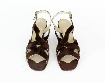 Brown Suede Heels 8.5 • 1960s Chunky Heel Strappy Sandals 8 1/2 • 60s Shoes 8 1/2 • 1960s Deadstock Shoes • Florsheim