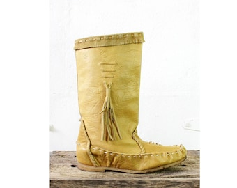 Moccasin Tan Leather Boots 9 • Bohemian Fringe Tall Leather Boots 9 • Prima Moccasin Boots | SH139