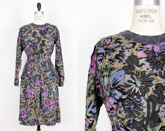 80s Floral Applique Dress S • Midi Dress with Pockets • Cotton Dress with Dolman Sleeves | D580