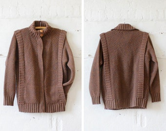 Zip Up Wool Sweater M • Ribbed Sweater • Slouchy Sweater • Wool Sweater Coat • Knit Zip Up Jacket  | T377