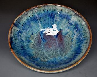 Blue Ocean Jade Pottery Salad Bowl Ceramic Bowl Blue Green Serving Bowl A