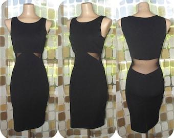 Vintage 80s Dress | 1980s Sheer Waist Dress | 90s Black Party Dress | Cutout Mesh Waist | Mini Dress