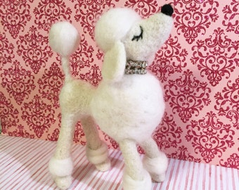White Poodle / Felted / Snooty Poodle / Miniature / Figurine