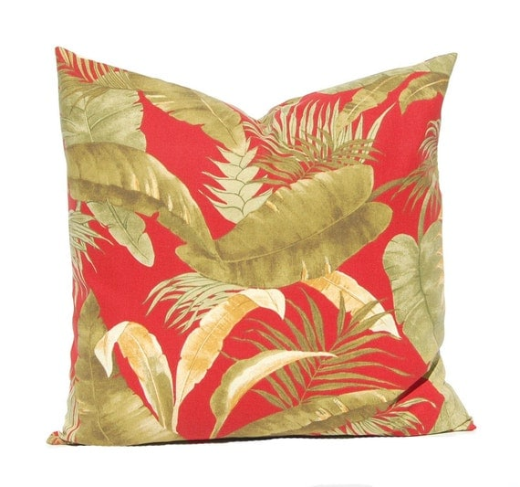 Banana Leaf Pillow Cover Red Pillow Cover Palm Leaf Pillow