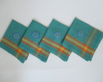 Vintage Linen Napkins - Eclectic Decor - Turquoise Aqua Orange Yellow Blue - 4 in Lot - Embroidered Flower -