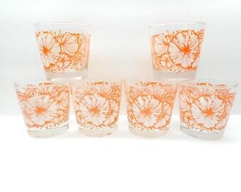 Vintage Orange Floral Textured  Drinking Glasses