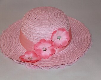 Tea Party Hat - Pink Easter Bonnet with Satin Ribbon - Girls Sun Hat - Pink Easter Hat - Sunday Dress Hat - Derby Hat - 1622