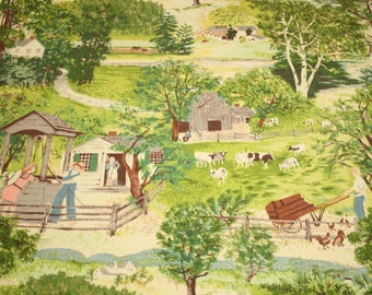 "Grandma Moses ""At the Well"" Vintage Barkcloth - 24 Inches by 22 Inches"