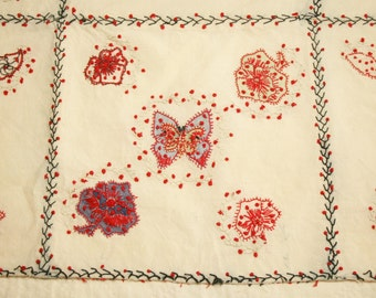 Antique French Coverlet Piece with Beautiful and Very Unusual French Knot Embroidery and Applique - 36 by 19 Inches