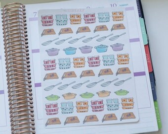 Hand Drawn Vintage Cooking Meal Prep Planner Stickers perfect for Erin Condren, Happy Planner, Inkwell Press
