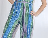 Vintage 1970s Mod Knit Edith Flagg Three Flaggs Water Droplet Jumpsuit Blue Green Purple Abstract Print Sz S
