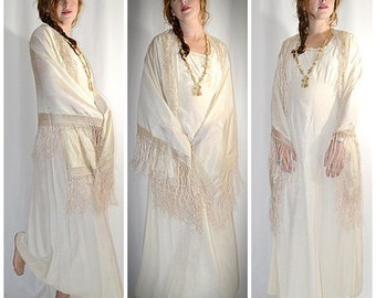 Vintage Long Ivory Silk Shawl With Long Hand Knotted Fringe