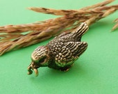 Nikita Fedosov Miniature Bronze Bird with Worm, Vintage Art Bronze Collectible Figurine RESERVED