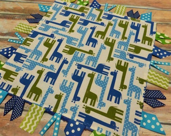 Ribbon Sensory Baby Boy Blanket Lovey - Blue Giraffes READY TO SHIP