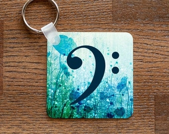 Bass Clef Keychain - Music Themed with Blue Flowers