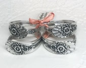 Spoon Napkin Rings from Vintage Silverware, Table Decor, Gift Set of 4 - 'Jubilee' 1953