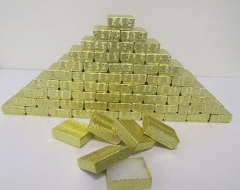 100 Pack Gold Foil Boxes (2 x 1.5 x .75 in.) // ECONOMY SIZE //
