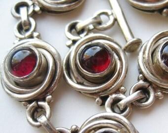 Vintage Sterling Silver Jeweled Red Garnet Toggle Clasp Panel Link Bracelet