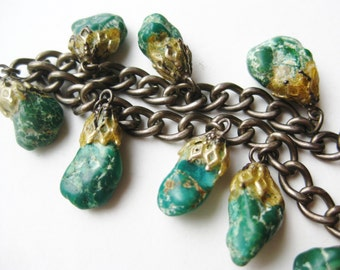 Vintage Green Turquoise Nugget Sterling Silver Charm Chain Bracelet