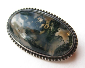 Vintage Victorian Sterling Silver Moss Agate Oval Antique Brooch Pin