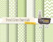 SALE: Green Digital Papers, Geometric Scrapbook Patterns, Fresh Spring Green Digital Paper, Chevron Quatrefoil Herringbone Polka Dot