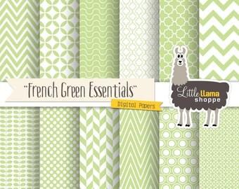 SALE: Green Digital Papers, Geometric Scrapbook Patterns, Fresh Spring Green Backgrounds, Chevron Quatrefoil Herringbone Polka Dot