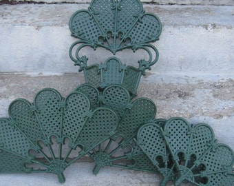 burwood products wall decor 1981 faux rattan wall decor emerald green wall pocket and fans large set
