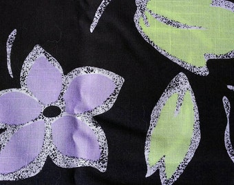 Purple  Flowers and Yellow on Black Cotton Blend Fabric 2 Yards X0462