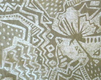 Tan and White Tribal Print Polyester Knit Fabric Next Number X0541 Geometric Design