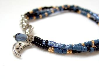 Stacked beaded bracelet, friendship bracelet, moon charm bracelet, gold and blue bracelet, layered bracelet