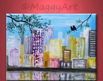 abstract original painting,love birds cityscape, skyline,wall art, office decor,home decor,24x18 inch stretched canvas,great wedding gift